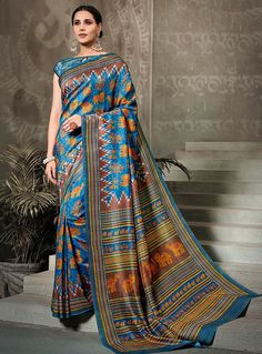 Azure Blue Tussar silk saree with Azure blue Tussar silk blouse embellished with digital print. Saree with Boat Neck, Mega Sleeve. It comes with unstitch blouse, it can be stitched to 32 to 58 sizes. Tussar Silk Saree, Art Silk Sarees, Traditional Sarees, Traditional Looks, Ethnic Sarees, Trendy Sarees, Casual Saree, Designer Sarees Online, Embroidered Clothes