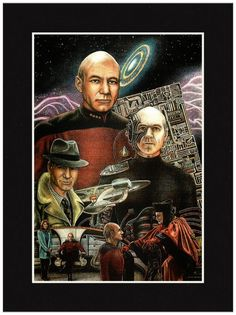 Hand-drawn by pencil artist Jonathan Brown. Captain Jean-Luc Picard, a Star Trek character portrayed by Patrick Stewart in the television series Star Trek: The Next Generation Available in the followi