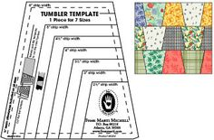 """One-derful One Patch Tumbler Ruler by Marti Mitchell.  $14.00. 2.5-6"""" strips.  Bottom corners cut at angle for easy piecing."""