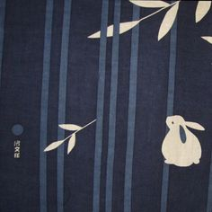 Rabbit, Moon and Bamboo Japanese Asian Fabric Panel Tenugui Japanese Textiles, Japanese Patterns, Japanese Design, Japanese Art, Japanese Waves, Japanese Fabric, Asian Fabric, Year Of The Rabbit, Bunny Art