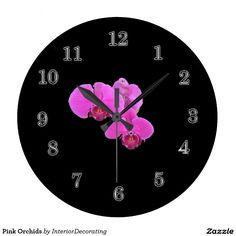 Pink Orchids Wallclocks