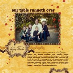 Our Table Runneth Over Scrapbook Digital Layout Idea