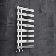 Chrome Designer Flat Panel Towel Rail Radiator Bathroom Warmer 820 x 450mm RB11P