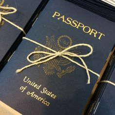 These 'passports' served as place cards, menus and favors for a travel-themed rehearsal dinner. Created with a combination of foil-stamping, metallic ink stamping and digital printing.