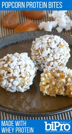 Love popcorn balls and protein bites? This recipe combines popcorn and protein bites into a portable protein snack.