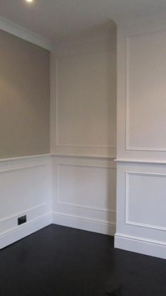 Heritage Wall Panelling Products complete & Painted White- classic look Dado Rail Living Room, Living Room Panelling, Bathroom Paneling, Wainscoting, Home Living Room, Dado Rail Hallway, White Wall Paneling, White Walls, Home
