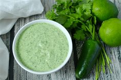 Check out this homemade creamy, cilantro-lime dressing. So easy - just throw everything into a blender!