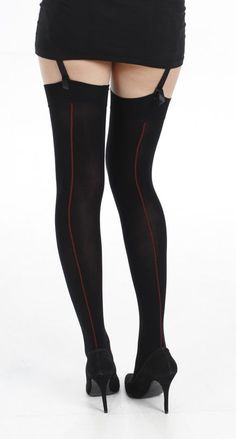 4110deab2ae New Womens 80 Denier Black Coloured Opaque Stockings with Red Back Seam