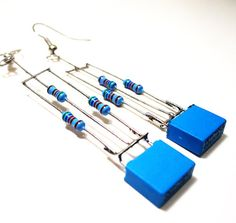 Resistor Earrings Brillant Blue Rectangle Holiday by clonehardware,