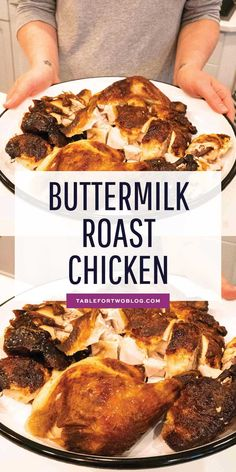 Buttermilk Roast Chicken – Buttermilk-Marinated Roast Chicken Recipe The most flavorful, tender, juicy, and moist buttermilk roast chicken made with just three ingredients. This buttermilk-marinated roast chicken is AMAZING and so easy to make! Roast Chicken Recipes, Roasted Chicken, Turkey Recipes, Beef Recipes, Dinner Recipes, Cooking Recipes, Dinner Ideas, Easy Roast Chicken, Walnut Recipes