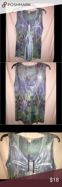 ❤️NWT. Blue & Green Medium BoHo Print w/Bling Top 💋NWT.BEAUTIFUL Blue &Green M Bohemian Print Tank with Bling! by World Entity94% Polyester  6%Spandex World Entity Tops Tank Tops