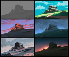 Color Experiments, Digital Painting, done in : Art Concept Art Tutorial, Digital Art Tutorial, Digital Painting Tutorials, Art Tutorials, Digital Paintings, Concept Art Landscape, Landscape Art, Landscape Paintings, Environment Painting