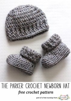 Crochet this easy parker newborn set with beanie hat and booties from  Sewrella from my winter kids hats free pattern roundup! 38ff466cce4