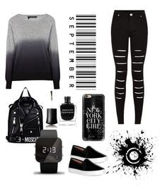 """Primsus #010"" by oktaeprimsus on Polyvore featuring 360 Sweater, Moschino, 1:Face, Deborah Lippmann and Casetify"