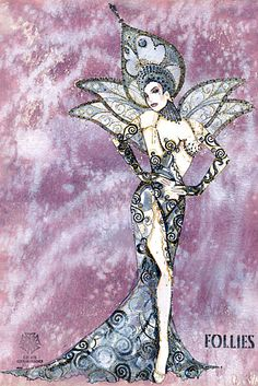 Costume design rendering by 2012 Tony Award nominee Gregg Barnes for Follies. Moulin Rouge Costumes, Broadway Costumes, Theatre Costumes, Costume Design Sketch, Best Costume Design, Hollywood Costume, Beautiful Costumes, Fashion Plates, Vintage Costumes