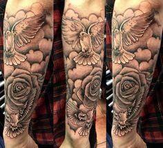 Dove Tattoos, Forarm Tattoos, Bild Tattoos, Leg Tattoos, Body Art Tattoos, Tattoos For Guys, Half Sleeve Tattoos Forearm, Inner Forearm Tattoo, Forearm Tattoo Men