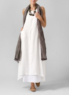 Linen Sleeveless Long Dress with Brown Scarf