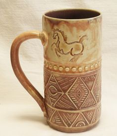 Ceramic dancing horse coffee mug 20oz stoneware by desertNOVA, $22.00