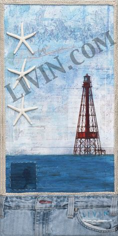 """""""Sombrero Lighthouse No. 1"""". LIVIN® mixed media artwork. Available in gallery quality (high-resolution) prints and canvas wraps."""