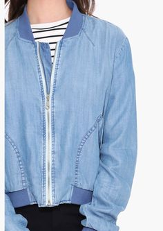 Court Denim Bomber Jacket in Denim | Necessary Clothing | Style