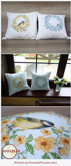 Cool cross-stitched bird decorative throw cover set, Easter decoration pillows, needlework summer wreath cushions 16 x 16 (40 x 40 cm) https://www.etsy.com/listing/516234745/cool-cross-stitched-bird-decorative?ref=shop_home_active_47  (Pinned using https://PromotePictures.com)