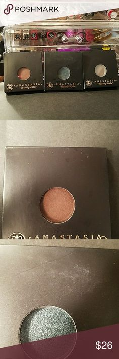 Anastasia Eyeshadow 3 Total Three new never used beautiful  Anatasia eyeshadows. Colors are Truffle, Mermaid and Smoke. I love this brand.  They are cruelty free and these are a few extras I picked up last week. I must confess I'm a huge  makeup lover and already have plenty of back ups. Anastasia Beverly Hills Makeup Eyeshadow