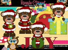 Santa Bears 13a 2 Clipart Digital ZIP File Download by MaddieZee, $2.50