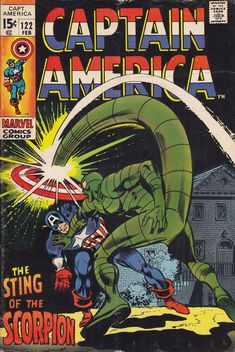 Bronze Age 1970 Captain America Comic 122 from Marvel Comics The Scorpion Marvel Comics, Marvel Comic Books, Comic Books Art, Comic Art, Marvel Heroes, Marvel Dc, Comic Book Pages, Comic Book Artists, Comic Book Covers