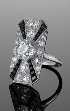 Art Deco Diamond and Onyx Cocktail Ring, circa 1920s