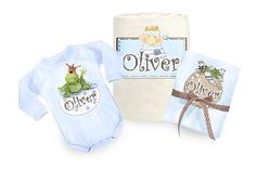 A magical and useful blue set for the new prince.    This lovely baby birth gift contains:    * A soft baby blanket- 100% cotton tricot.    The Blanket can be used in the summer and winter season as well (as a quilt cover).    * Cute bodysuit - long sleeved - 100% cotton.    * Cotton muslin diaper    Choose your color : cream or blue.  Price: $79