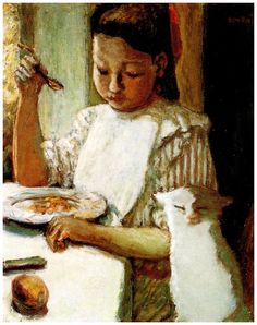 huariqueje:  L'enfant au chat 1(Child  with Cat)  -  Pierre Bonnard 1906 Post-impressionism
