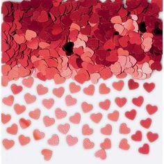 Pink & Red Glitter heart confetti