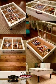 coffee tables ideas If you are a vintage furniture lover, then you must see these awesome vintage coffee tables. Coffee tables can be made out of many different vintage things. You can always find old vintage doors in your basement or old windows. Window Coffee Table, Diy Coffee Table, Window Table, Diy Table, Diy Upcycled Coffee Table, Furniture Projects, Home Projects, Diy Furniture, Furniture Design
