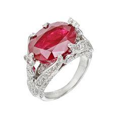 Estate Betteridge Collection Burmese Ruby & Diamond Ring