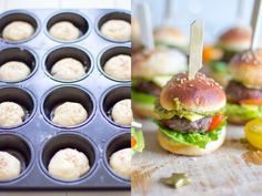 The perfect party meal: mini burger - Fingerfood - Homemade Burgers Party Finger Foods, Snacks Für Party, Finger Food Appetizers, Mini Hamburgers, Brunch Recipes, Appetizer Recipes, Best Homemade Burgers, Healthy Burger Recipes, Burger Party