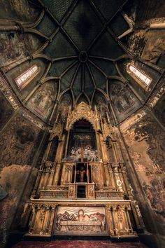 """""""Abandoned St. Peter and Paul Catholic Church, Pittsburgh, Pennsylvania - Abandoned 1992."""" The photo shows the original sanctuary built in 1891. St. Pet... - Abbie Stewart - Google+"""