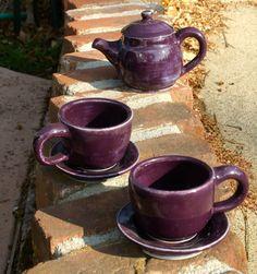 Small Purple Tea Set   Handthrown Stoneware by muddywaterscc, $70.00