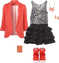 """""""Zebra Print Buisness Teen Outfit :)"""" by ashley-foxhoven on Polyvore"""