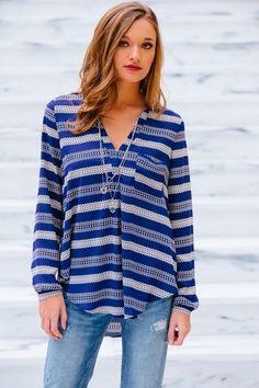 gilt gossamer - Printed Blue Striped Top, (http://www.giltandgossamer.com/printed-blue-striped-top/)