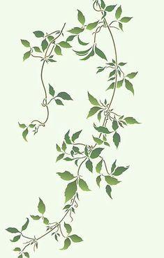Ivy Tattoo, Vine Tattoos, Leaf Stencil, Stencil Walls, Stenciling, Vine Drawing, Clematis Vine, Flowering Vines, Botanical Flowers