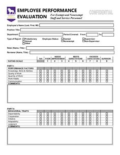 Free Basic Employee SelfEvaluation Form From Formville  Yokohma