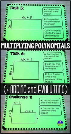 Multiplying polynomials task cards activity - Students multiply, add and evaluate polynomials in this highly-visual polynomial activity. Algebra Activities, Maths Algebra, Math Resources, Math Fractions, Math Games, Math Teacher, Math Classroom, Teaching Math, Teacher Binder