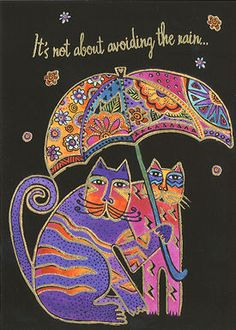 Love the cats under the umbrella! Front View of Laurel Burch Friendship Greeting Card