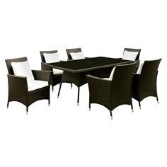 Chadwick 7pc Modern Patio Dining Table Set - White - Furniture of America, Light White