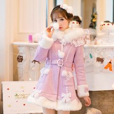 New Japanese Sweet Lolita Princess Wool Silm Coat Elegant Purple Overcoat #1e