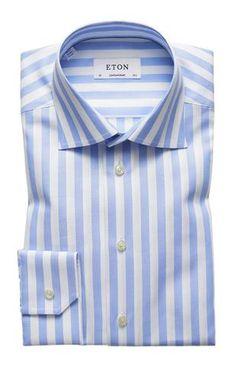 HUGO BOSS MARLOW US BLACK LABEL DRESS SHIRT SHARP FIT BLUE STRIPED-NWT