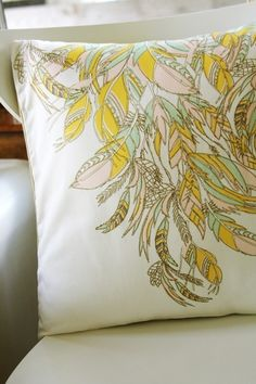 Feathers Removable Throw Pillow Cover 16 x 16. $32.00, via Etsy.