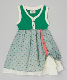 Look at this Little Anmy Green Dot Button Dress - Girls on #zulily today!