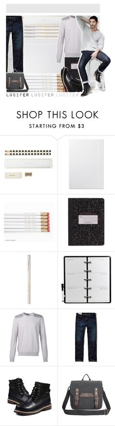 """""""Lucifer Goes to School"""" by fan-addx on Polyvore featuring Kate Spade, Too Faced Cosmetics, Dot & Bo, Lanvin, Hollister Co., men's fashion, menswear and Lucifer"""