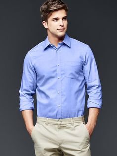 Wrinkle-resistant chambray shirt - Wrinkle-resistant and all-around low maintenance.  <br> <br>From long flights to late nights, this shirt stays sharp.